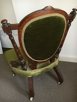 AU260 • Buy Carved Mahogany Ladies Bedroom Chair With Green Velvet Upholstery&Original Casto