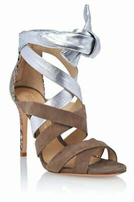 0ae7afb2914f Schutz Oradia Taupe Nubuck Silver Snake High Heel Single Sole Tie-Up Sandals  • 71.99