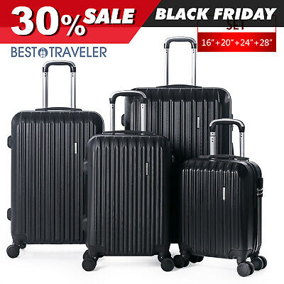 "View Details 4 Piece ABS Luggage Set Light Travel Case Hardshell Suitcase 16""20""24""28"" • 95.99$"
