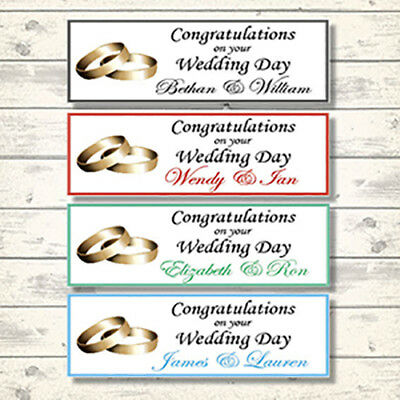 2 PERSONALISED WEDDING BAND WEDDING DAY BANNERS - 800 X 297mm - WEDDING RING • 3.99£