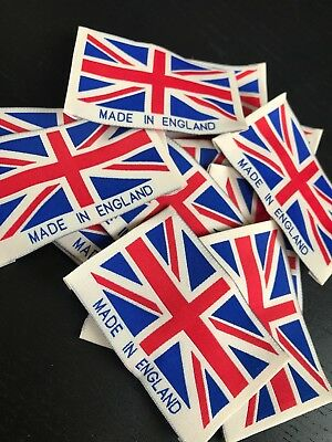 Union Jack Made In England Labels Woven Soft Cotton Garment Clothing Labels Neck • 2£