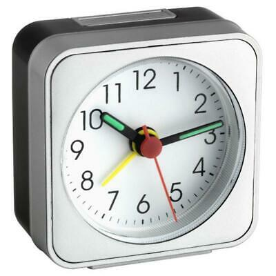 AU46.95 • Buy NEW TFA Square Analog Alarm Clock, Black And Silver, 6cm
