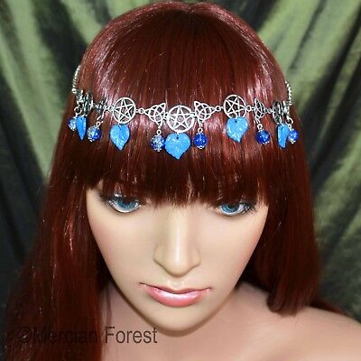 Pentacle Triquetra Forest Headdress - Ice Blue - Pagan Jewellery Winter Solstice • 10.50£