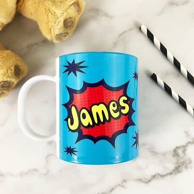 Personalised POW Plastic Mug Children's Birthday Gift Juice Cup Any Name • 10.99£