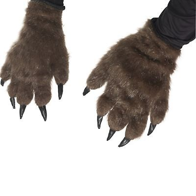 Adult Hairy Werewolf Wolf Monster Hands Claws Paws Halloween Fancy Dress Gloves • 10.01£