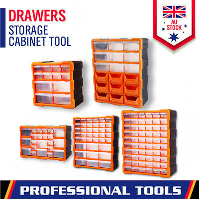 AU40.99 • Buy Tool Storage Bin Parts Organizer Drawers Cabinet Box Chest Plastic With Dividers