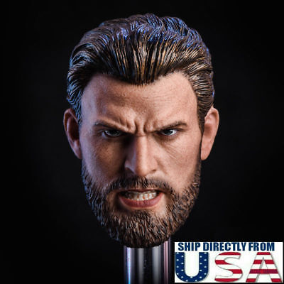 $38.50 • Buy 1/6 Chris Evans Captain America Head Sculpt ANGRY Version For PHICEN Hot Toys