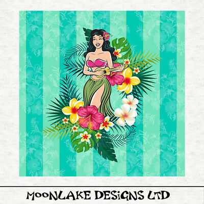 Hawaiian Hula Girl, With Ukulele, Fabric, Sewing, Quilting, Craft Panel • 5.45£
