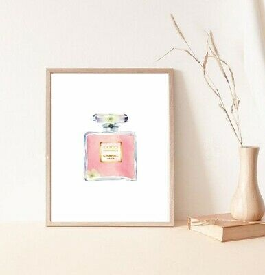 £8.50 • Buy Print/poster Drawing Painting Coco Chanel Pink And Gold Perfume Bottle