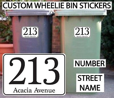 4x WHEELIE BIN NUMBERS STICKERS CUSTOM HOUSE AND ROAD STREET NAME PERSONALISED • 2.95£