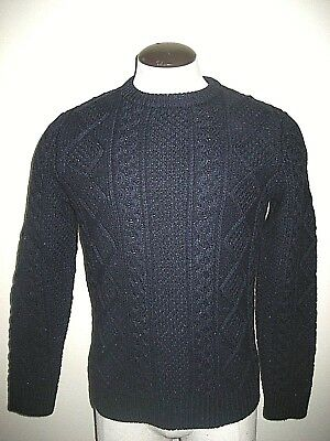 $55.24 • Buy Levi's Mens Fisherman Cable Crew Knit Wool Sweater Navy Blue Size Small NWT