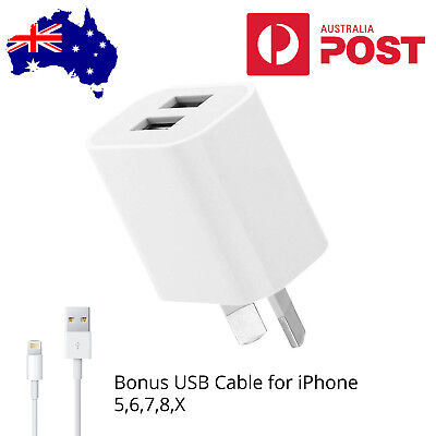 AU12.50 • Buy AU Plug Dual Port USB Wall Charger Power Adapter & IPhone 5,6,7,8,X, IPad Cable