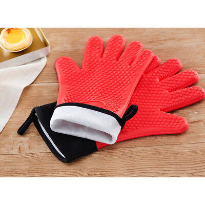 £7.31 • Buy Heat Proof Silicone Gloves BBQ Cooking Gloves Oven Mitts Kitchen Grips