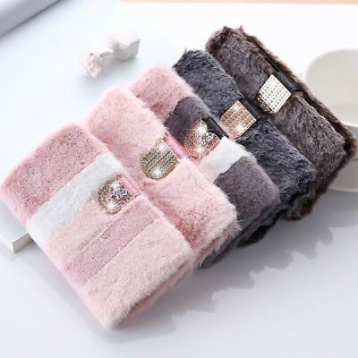 For IPhone XS 6 7 X Cute Bling Diamond Leather Faux Fur Fluffy Wallet Case Cover • 5.99£