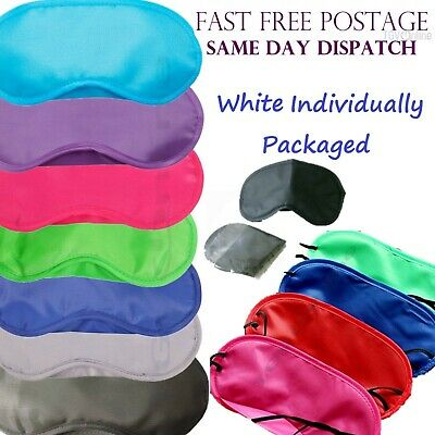 AU1.32 • Buy WHITE TRAVEL EYE MASK SLEEP SLEEPING COVER REST EYEPATCH BLINDFOLD COLOURS Bulk