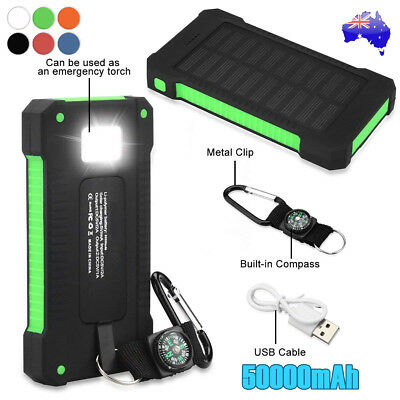 AU20.18 • Buy 50000mAh Portable Solar Panel Dual USB External Battery Power Bank Pack Charger