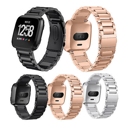 $ CDN17.36 • Buy Metal Link Bracelet For Fitbit Versa Smart Watch Band Stainless Steel Strap Belt