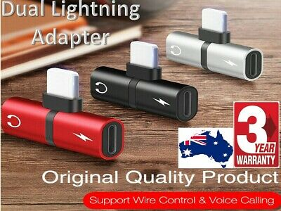 AU5.72 • Buy Dual Headphone + Charger Splitter Adapter Double IPhone 11 Pro Max 7 X XR 8 Plus