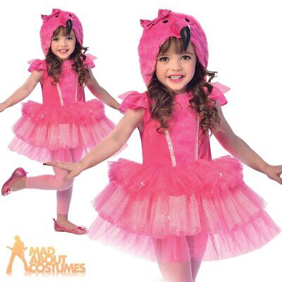 Child Flamingo Tutu Costume Girls Bird Book Day Cute Fancy Dress Outfit Kids • 14.99£