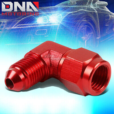 $5.98 • Buy An4 An-4 Male Female 90 Degree Bulkhead Flare Red Aluminum Anodized Fitting