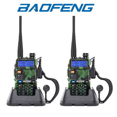 2X Baofeng UV-5R VHF/UHF Dual-Band USB Two Way Radio Walkie Talkies Earphone UK • 35.99£