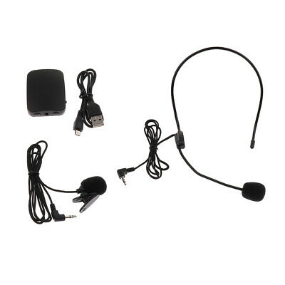 A Set Wireless Headset Microphone USB Lavalier Mic For Stage Performance • 9.30£