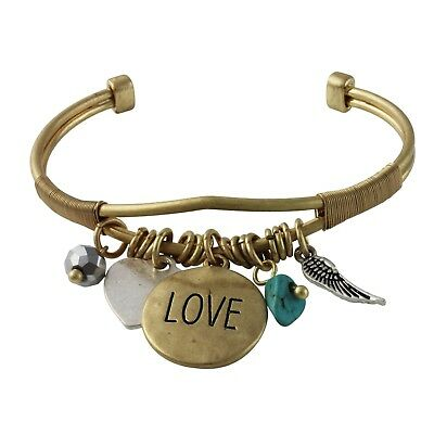 NEW Boho Chic Indie Love Heart Bird Feather Charm Festival Trendy Cuff Bracelet • 7.24£