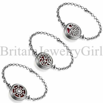 AU13.69 • Buy Fashion Aromatherapy Essential Oil Diffuser Stainless Steel Locket Bracelet Cuff