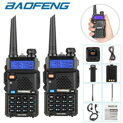 2 Packs Baofeng UV-5R Walkie Talkies UHF VHF Dual Band Two-Way Radios • 37.99£