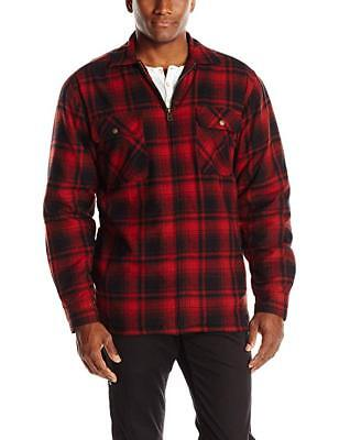 WOLVERINE Marshall Flannel Sherpa Lined Full Zip Shirt Jacket CINNAMON RED L • 36.29£