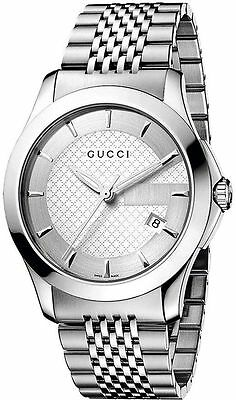 2bf7c4a4407 New Gucci G-Timeless Silver Dial Stainless Steel Bracelet YA126401 Mens  Watch • 319.00