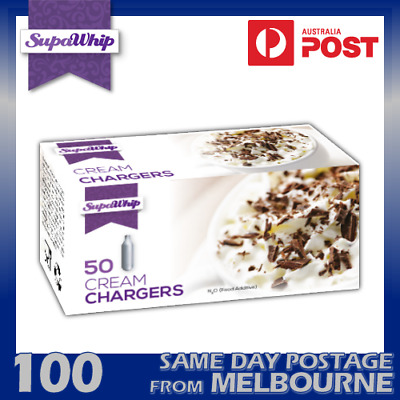 AU49.89 • Buy Supawhip Cream Chargers 50 Pack X 2 (100 Bulbs) - Pure Nitrous Oxide N2o