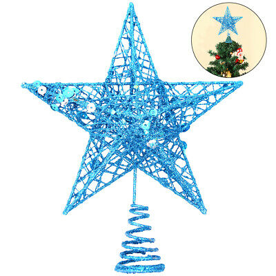 Glitter Blue Christmas Tree Topper Decorations Baubles Stars • 6.19£
