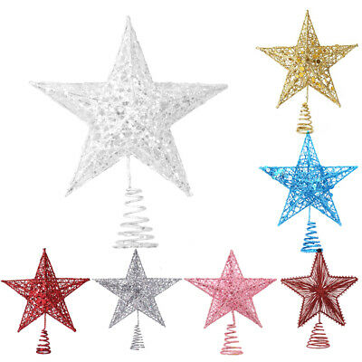 Glitter White Gold Silver CHRISTMAS TREE TOPPER Star 20CM Xmas Ornament Decor • 6.29£