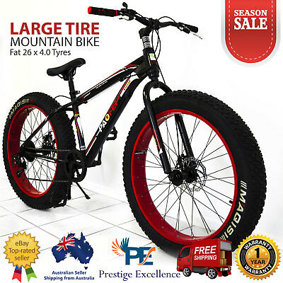 AU649 • Buy 26  Mens Mountain Bike Heavy Duty Large Fat Tyre Bicycle Red Black Alloy 7-Speed