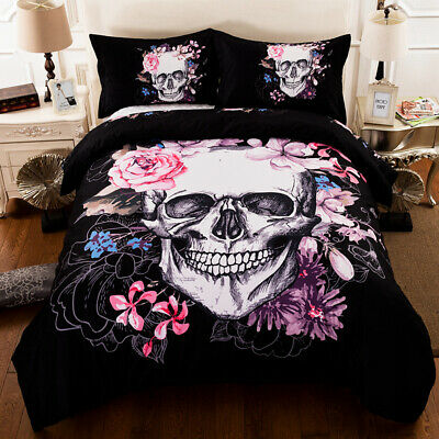 3D Gothic Skull Duvet Cover Flower Quilt Cover Bedding Set Pillow Case All Sizes • 29.95£