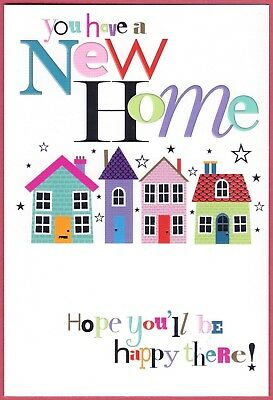 NEW HOME CARD BY SIMON ELVIN - FOILED - HOPE YOU'LL BE HAPPY THERE - 19 X 13cm • 1.60£