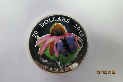 2013 Canada $20 Purple Coneflower And Venetian Glass Butterfly 1 Oz Silver Coin • 150$