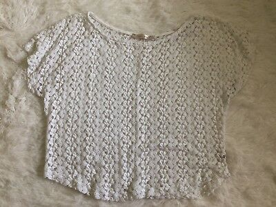 $5.99 • Buy SANS SOUCI Women's White Crochet Knit Crop Top Size Medium Short Sleeves (E11)