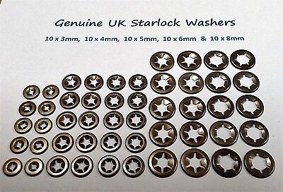 £4.79 • Buy Starlock Washers Assorted Grab Speed Retaining Clips 10X 3,4,5,6&8mm 50 PCE