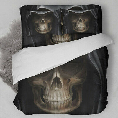 3D Mask Skull Duvet Cover Quilt Cover Bedding Set Pillowcases Single Double King • 22.79£