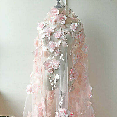 £28.99 • Buy 3D Flowers Plant Costume Lace Fabric Embroidery Bridal Evening Dress Tulle 1 Y