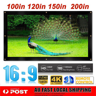 AU63.63 • Buy 100/120/150/200  Projector Screen 16:9 Home Cinema In/Outdoor Movie Projection