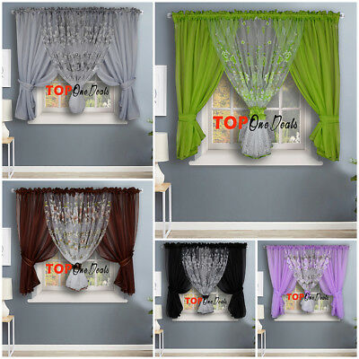 Voile Net Curtains Ready Made Printed Floral Living Dining Room Bedroom Modern  • 21.99£