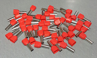 AU9.30 • Buy 10/20/50Pcs TE6014 10AWG 2*6mm² RED Insulated Dual Ferrule Bootlace Crimp