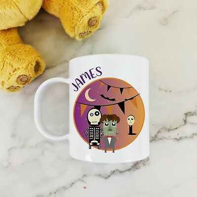 Personalised Monsters Plastic Mug Children's Halloween Gift Juice Cup Any Name • 10.99£