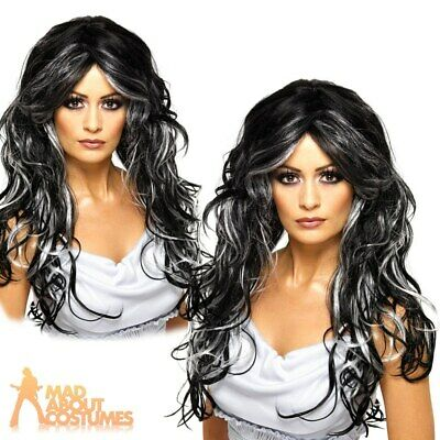 Gothic Bride Wig Ladies Witch Halloween Fancy Dress Black Streaks Long Witches • 14.29£