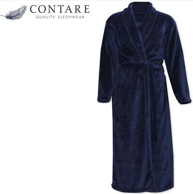 $48.68 • Buy CONTARE Men's Country Coral Fleece Dressing Gown Luxury Bath Robe - Navy Blue
