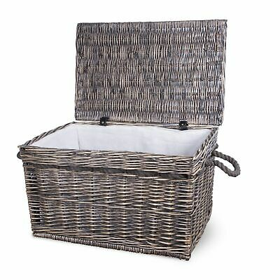 Vintage Wicker Trunk Baby Nursery Toys Blanket Storage Chest Basket Box Bedside • 25.99£