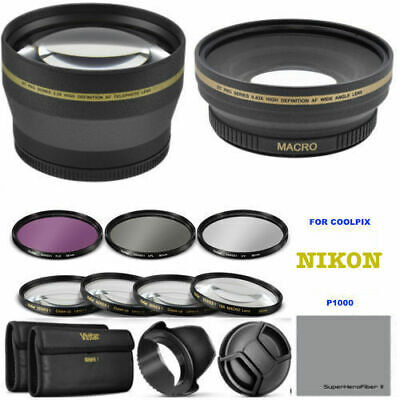 AU216.59 • Buy 77mm Wide Angle + Telephoto Lens +hd Filter Kit + Macro For Nikon Coolpix P1000